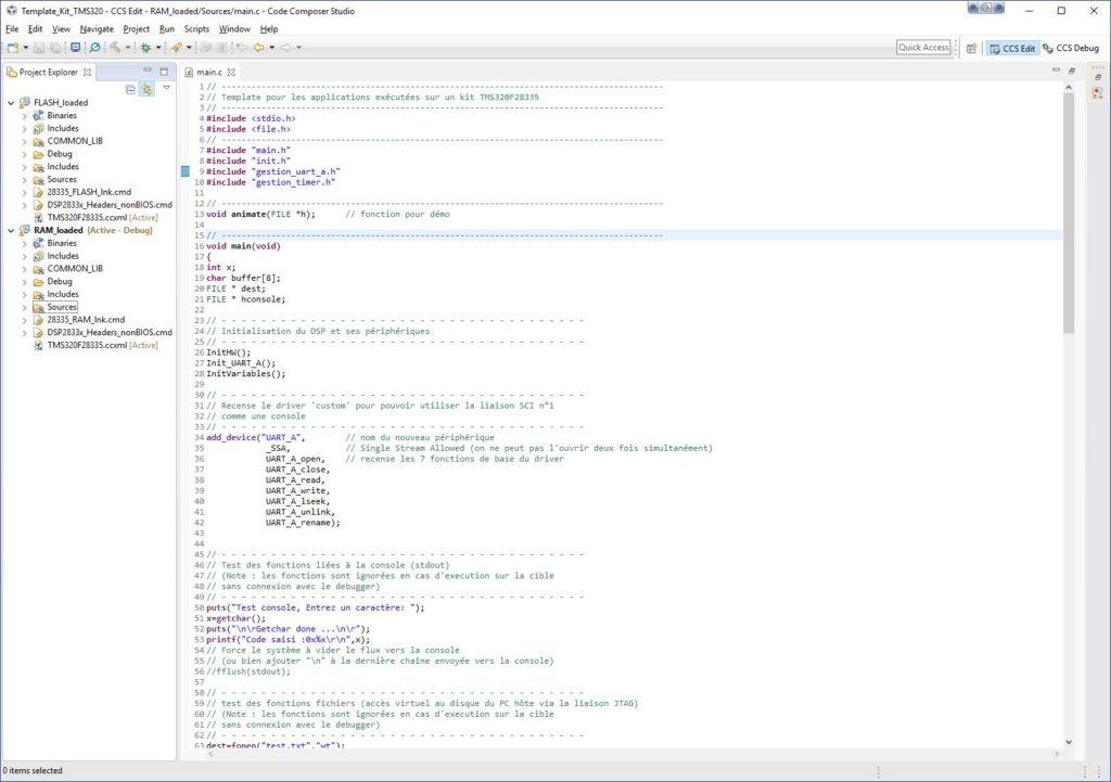 Vue du projet d'exemple TMS320F28335 dans CCS